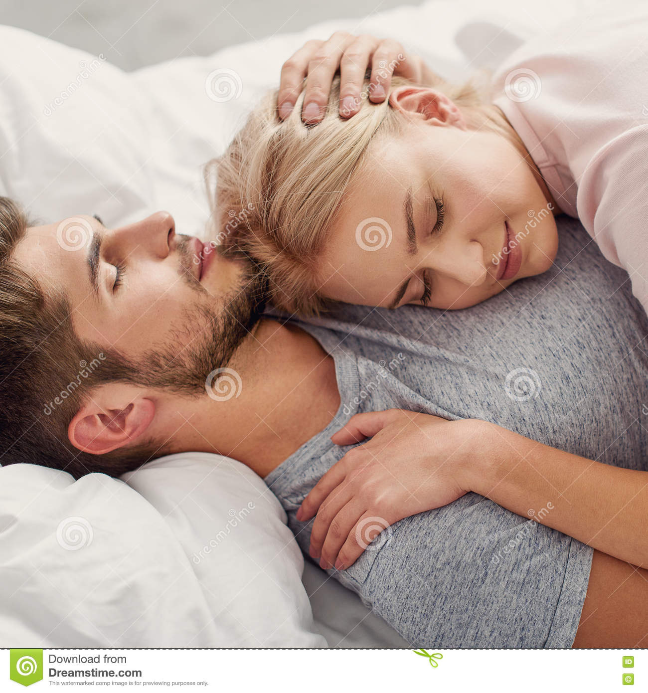 Young Man And Woman Napping Together Stock Photo - Image ...