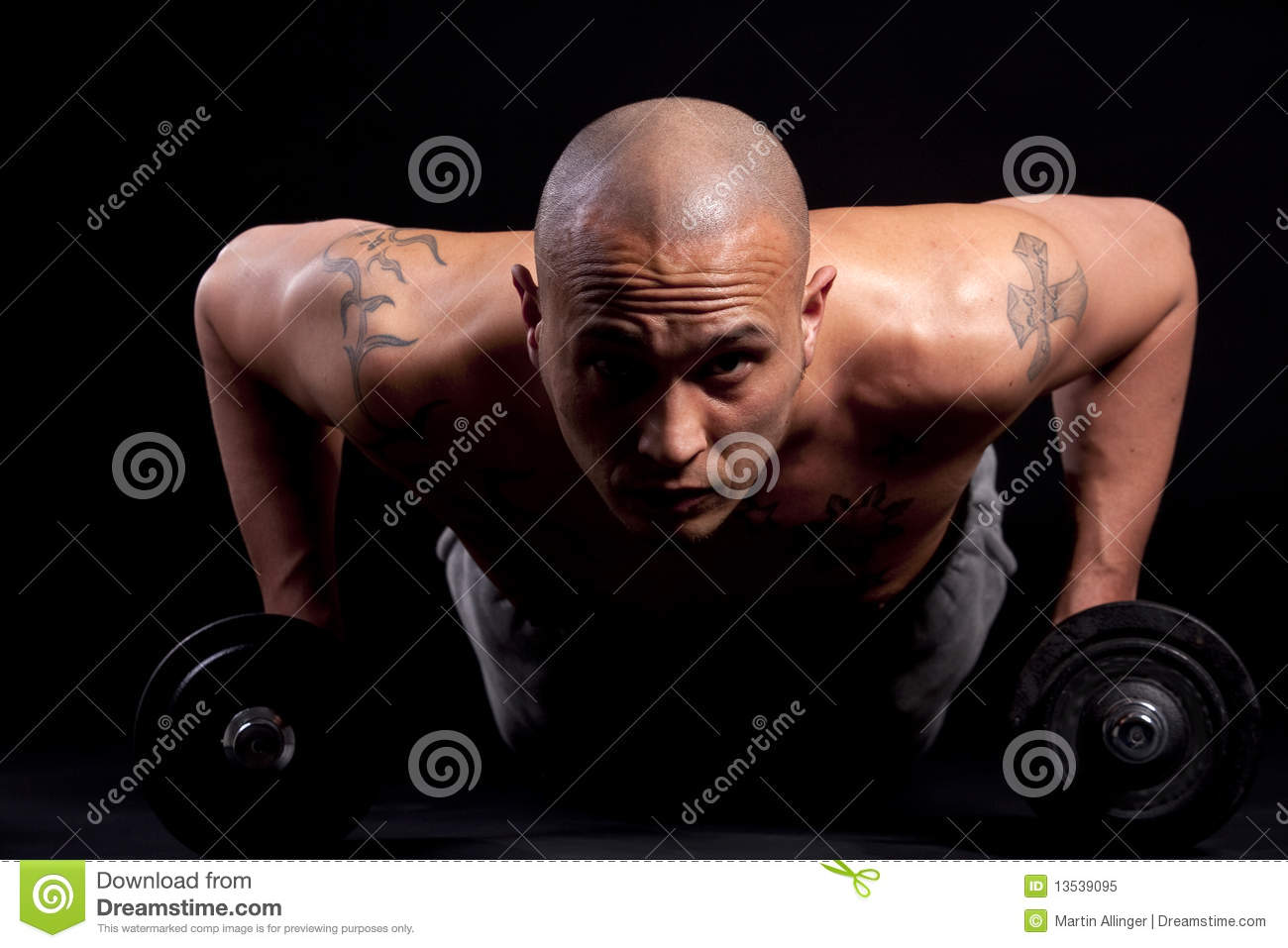 Bald male working out naked doing kenpo hairy sweaty athletic latino