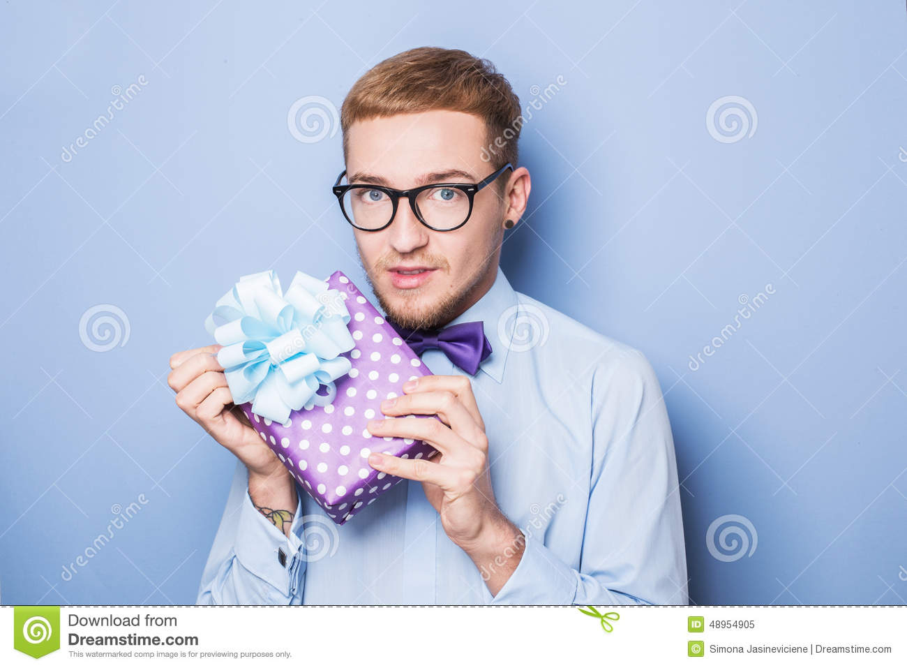 Young Man With A Wrapped Gift Box Present Birthday Valentine