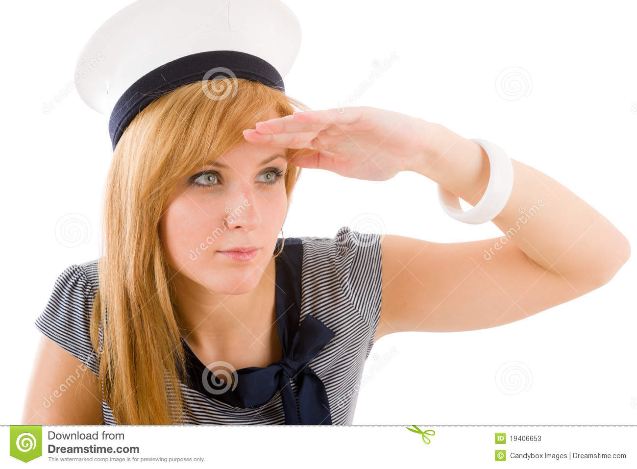 Young marine woman saluting navy outfit