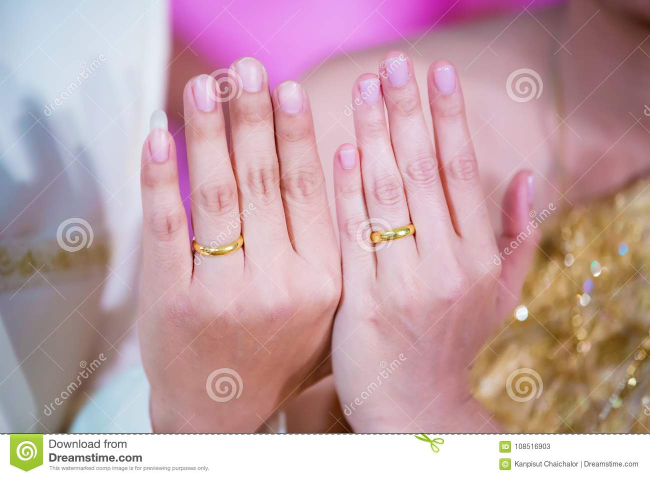 Young Married Couple Holding Hands, Show Wedding Ring In Ceremony ...