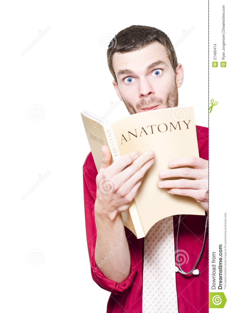 Young Medical Intern Student Studying Anatomy Book Stock Photo ...