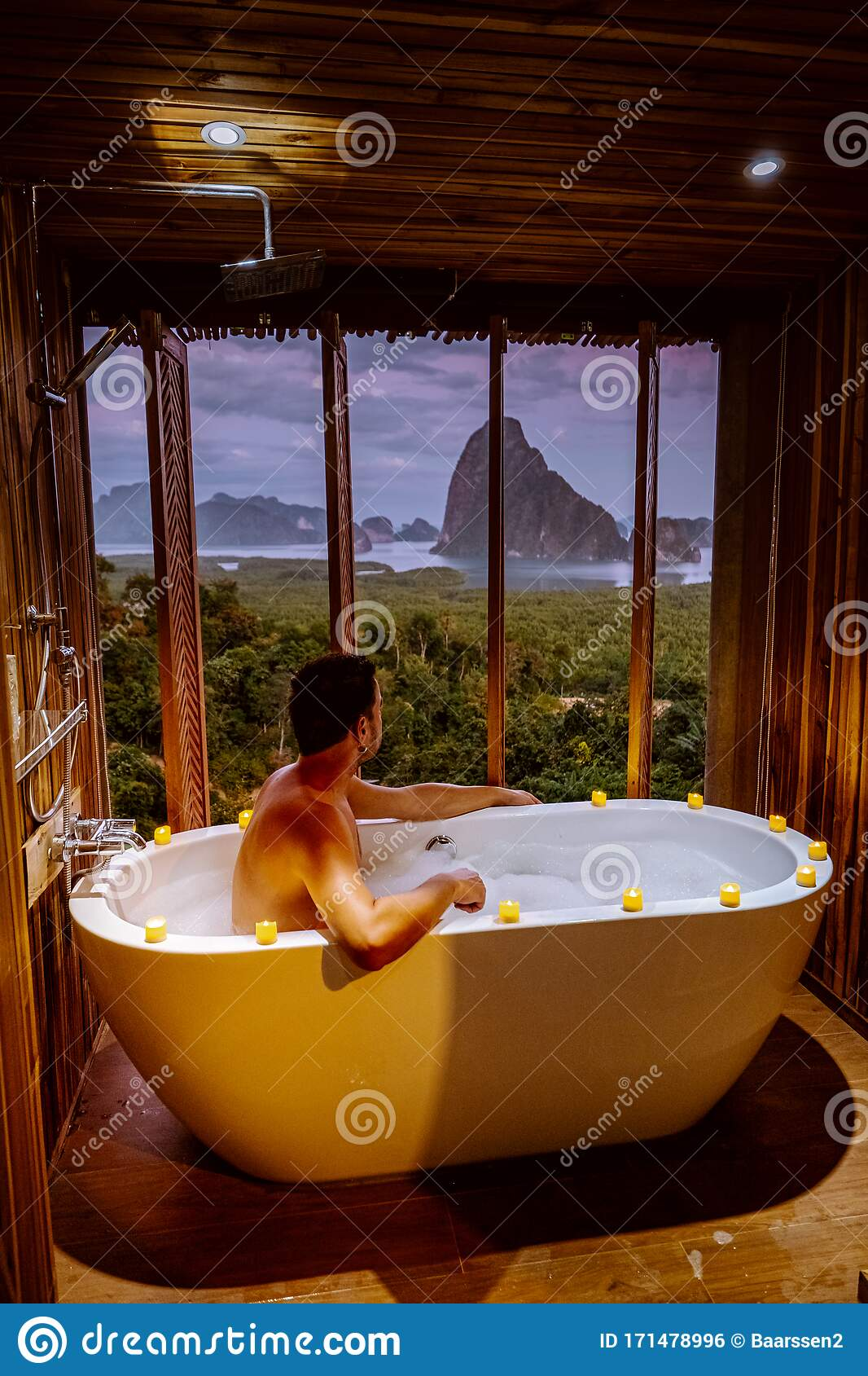 Young Men In Bath Tub With A Look Over The Bay Of Phangnga Bay Luxury Wooden Bathroom During Sunset Thailand Asia Stock Photo Image Of Hotel Cliff 171478996