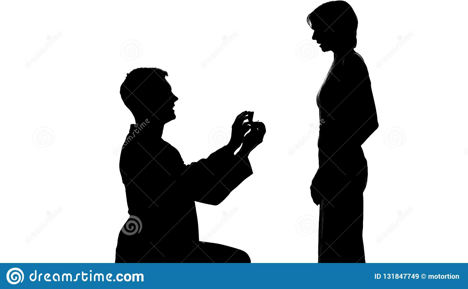 Young man shadow making proposal to lady, marriage offer, romantic relations
