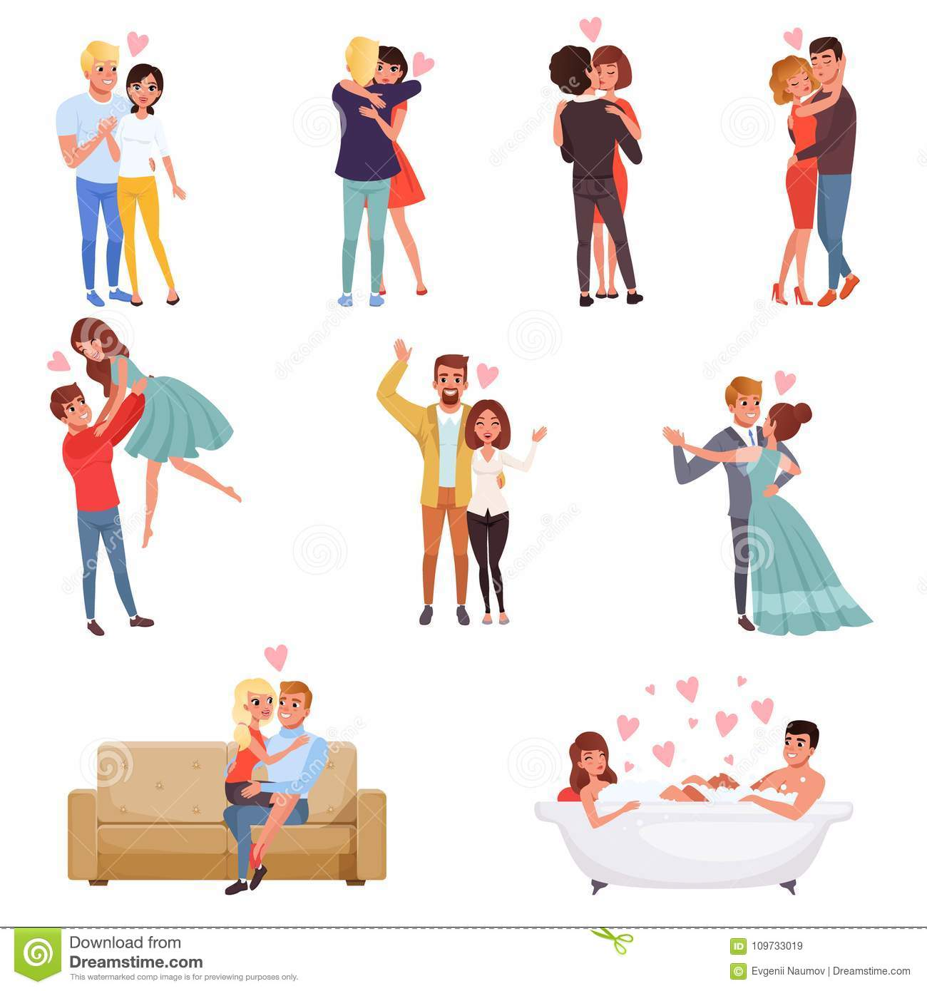 Young Men And Women Characters Embracing Dancing And Kissing Set
