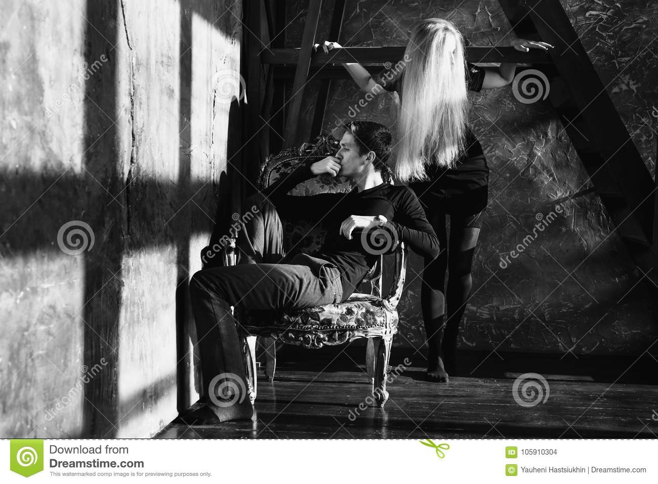 A young man and young blonde woman with long hair. Problems and difficulties in relations. Difficult situation in life. Conceptual