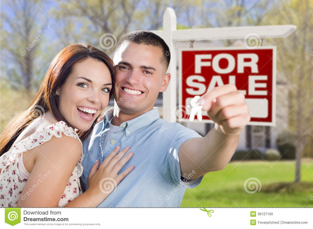Young military couple in front of home house keys sign stock photo image 36127100 - Young couple modern homes ...