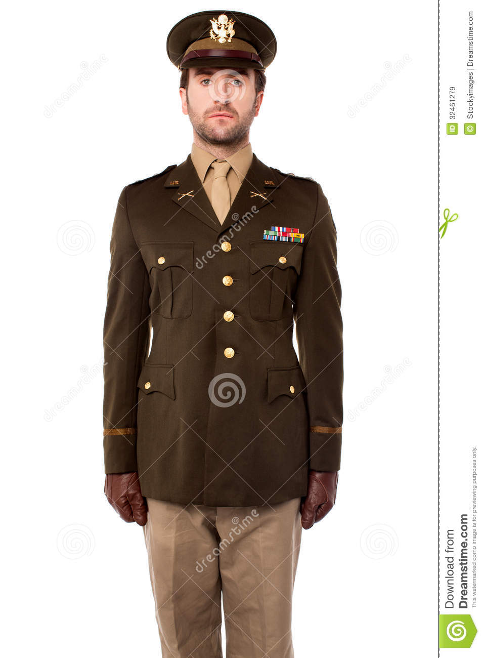 young military officer in attention position stock image