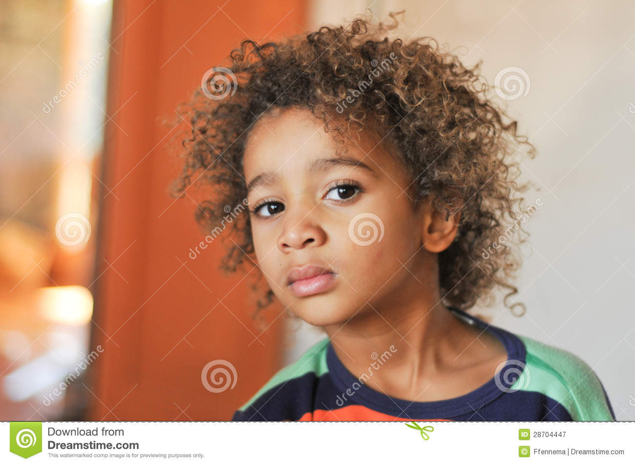 Young Mixed Race Boy With Curly Hair Stock Image Image Of