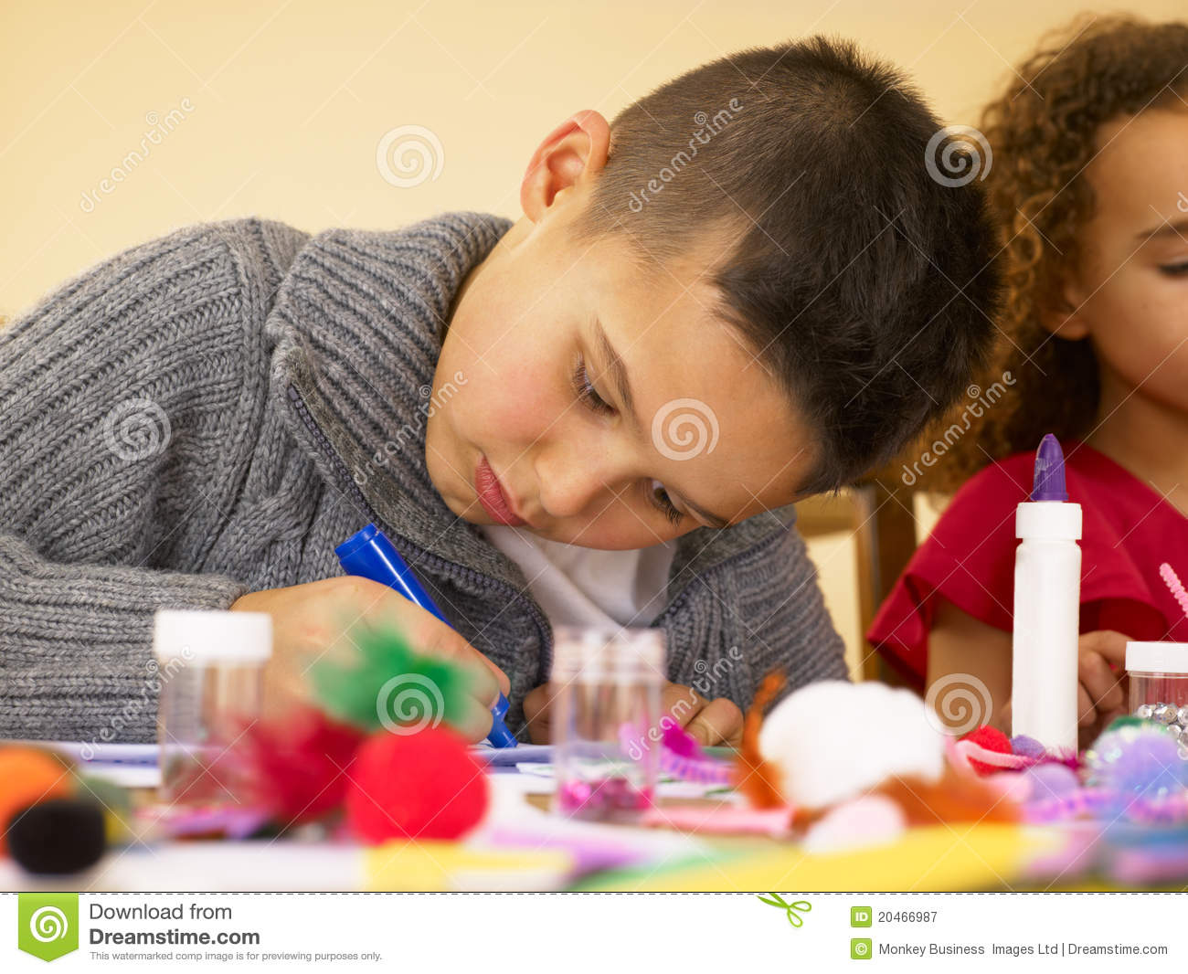 Young Mixed Race Children Doing Handicrafts Stock Image Image Of