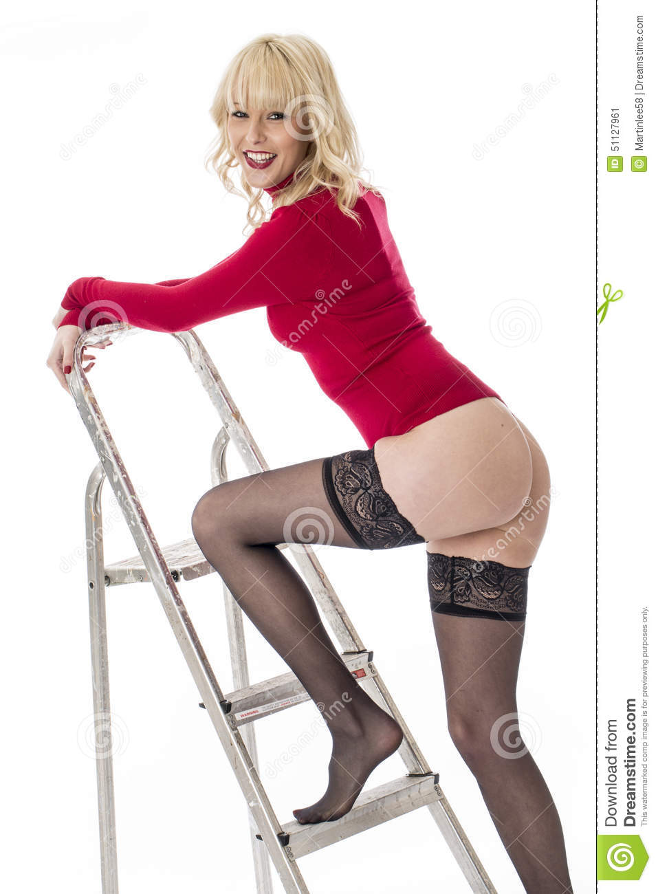 3a32137fab1 Young Model In Lingerie Climbing A Ladder Stock Image - Image of ...