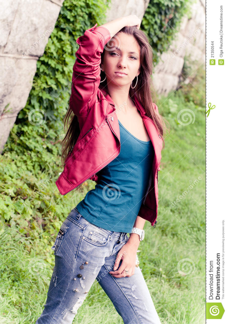 Young model in red jacket