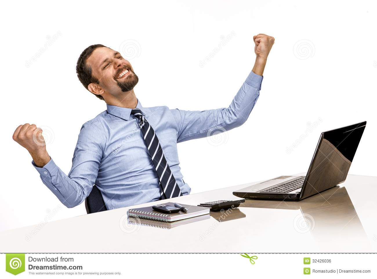 Young Modern Businessman Excited With His Success While ...