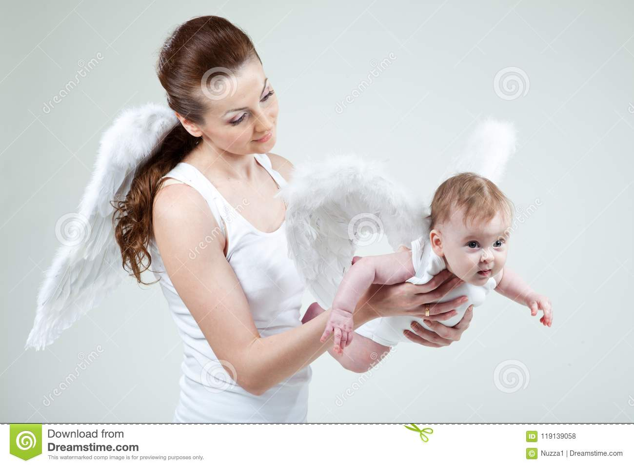 cf9838d040d Young Mom And Her Little Baby-girl Are Angels Stock Photo - Image of ...