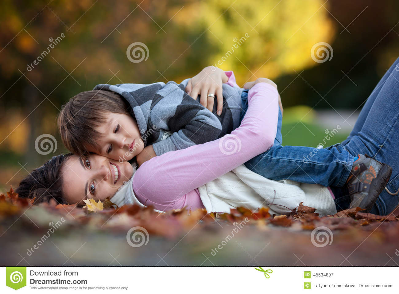 Young Mom With Her Little Boy In The Park Stock Image Image Of