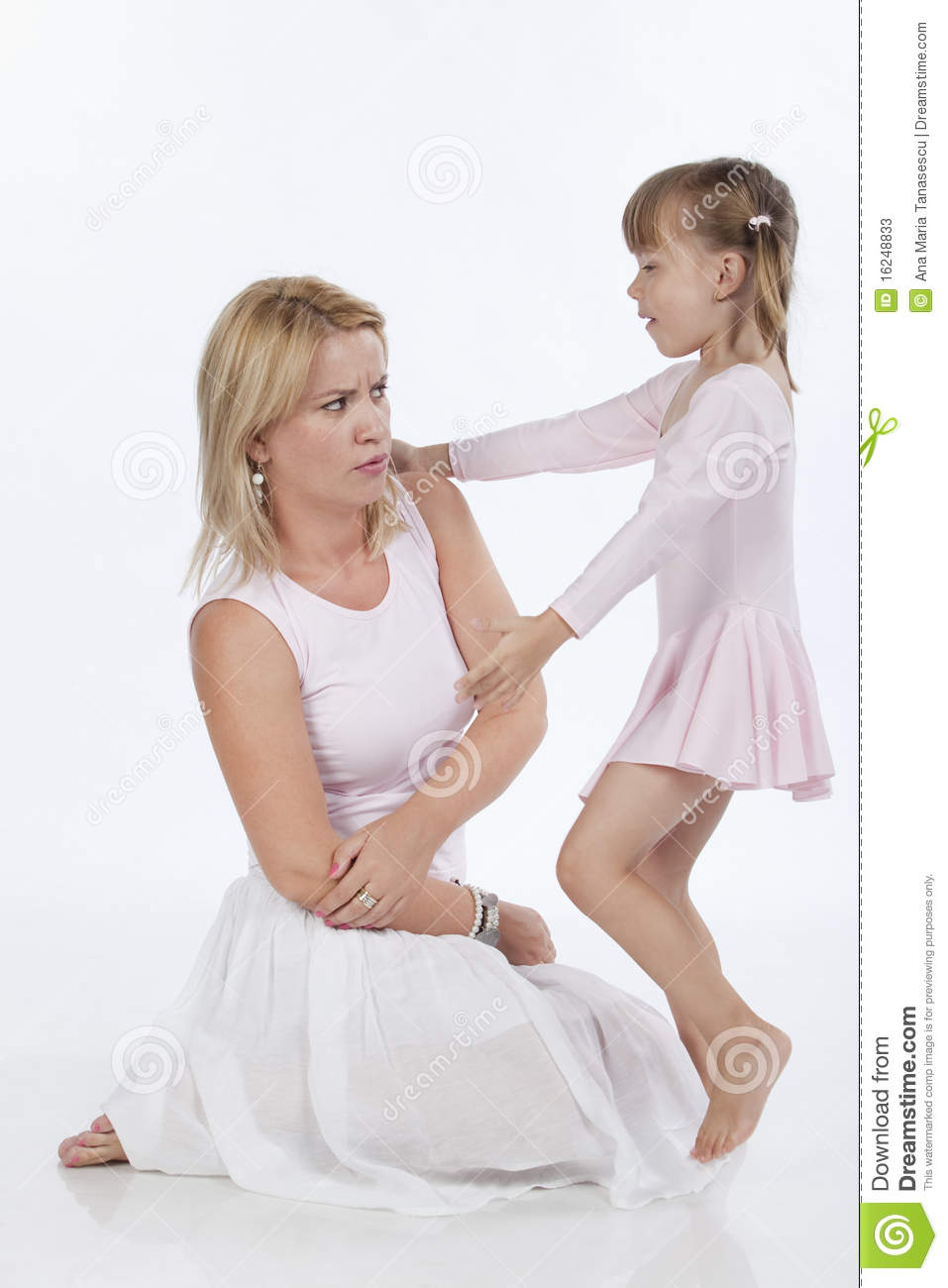 ... portrait of two persons, mother and daughter, arguing, studio image