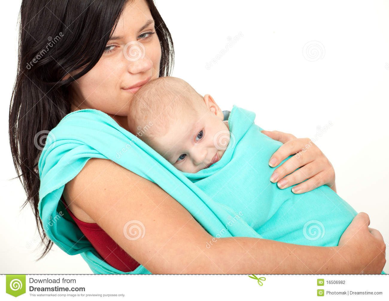 Mother Carrying Her Baby In A Sling Stock Image - Image of