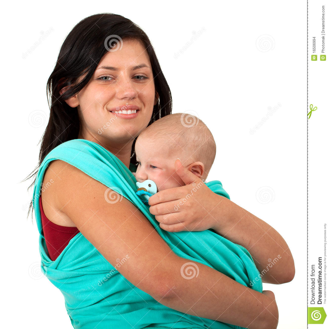 Mother Carrying Her Baby In A Sling Stock Photo - Image of