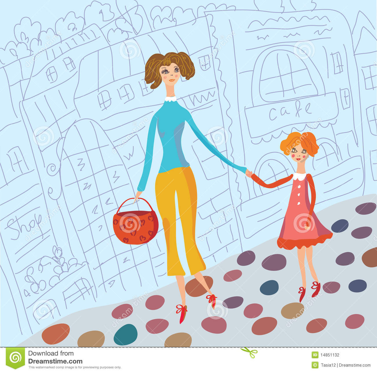 Download Young Mother And Daughter Together Stock Vector - Illustration of life, happiness: 14851132