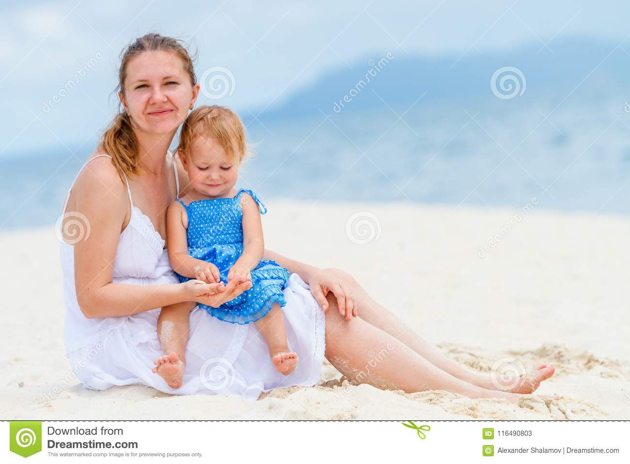 Young family at beach
