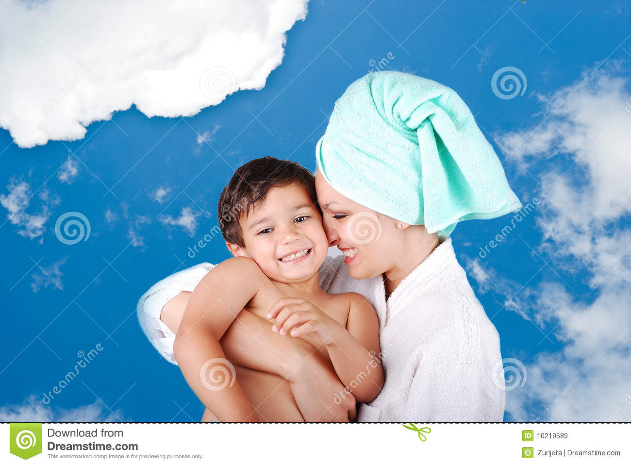 Young mother and her son after taking a bath royalty free for Mom and son in bathroom