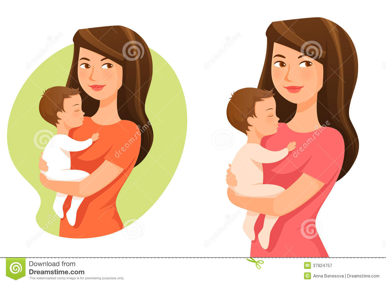 Young Mother Holding Her Baby Stock Vector