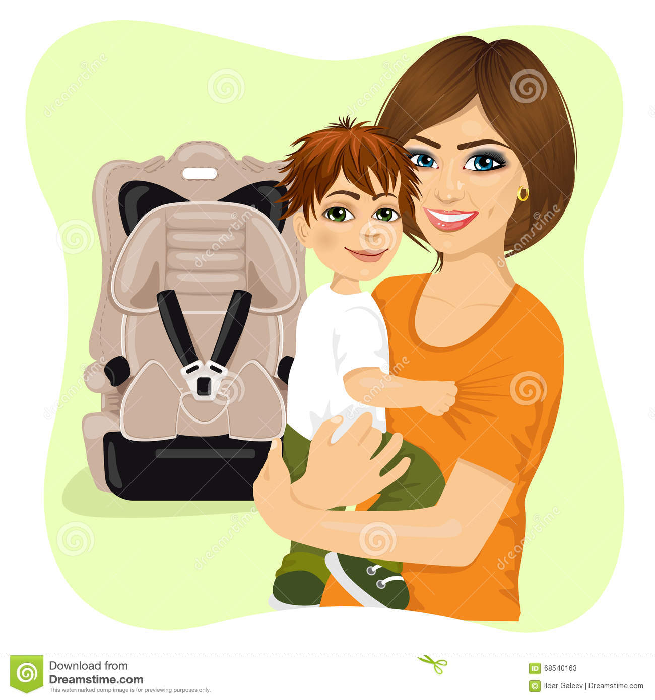 Young Mother Holding Little Boy Next To Baby Car Seat Stock Vector