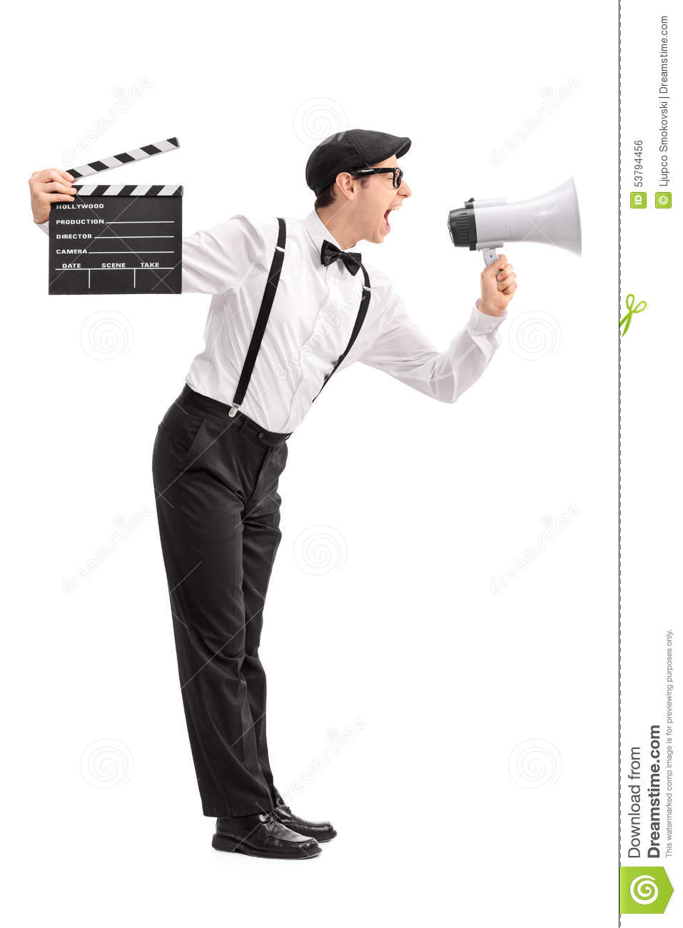 young movie director shouting on a megaphone stock photo