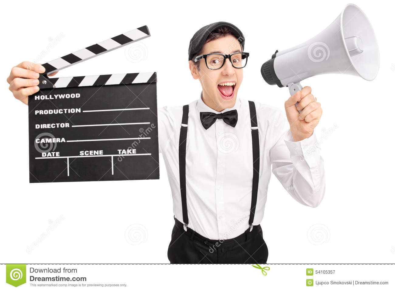 young movie director speaking on a megaphone stock photo