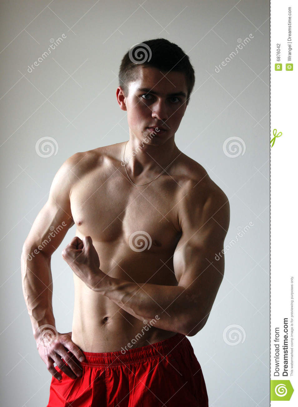 Muscular man flexing his bicep
