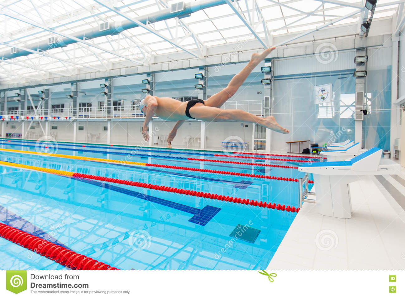 Young Muscular Swimmer Jumping From Starting Block In A Swimming Pool Stock Photo Image 72508786