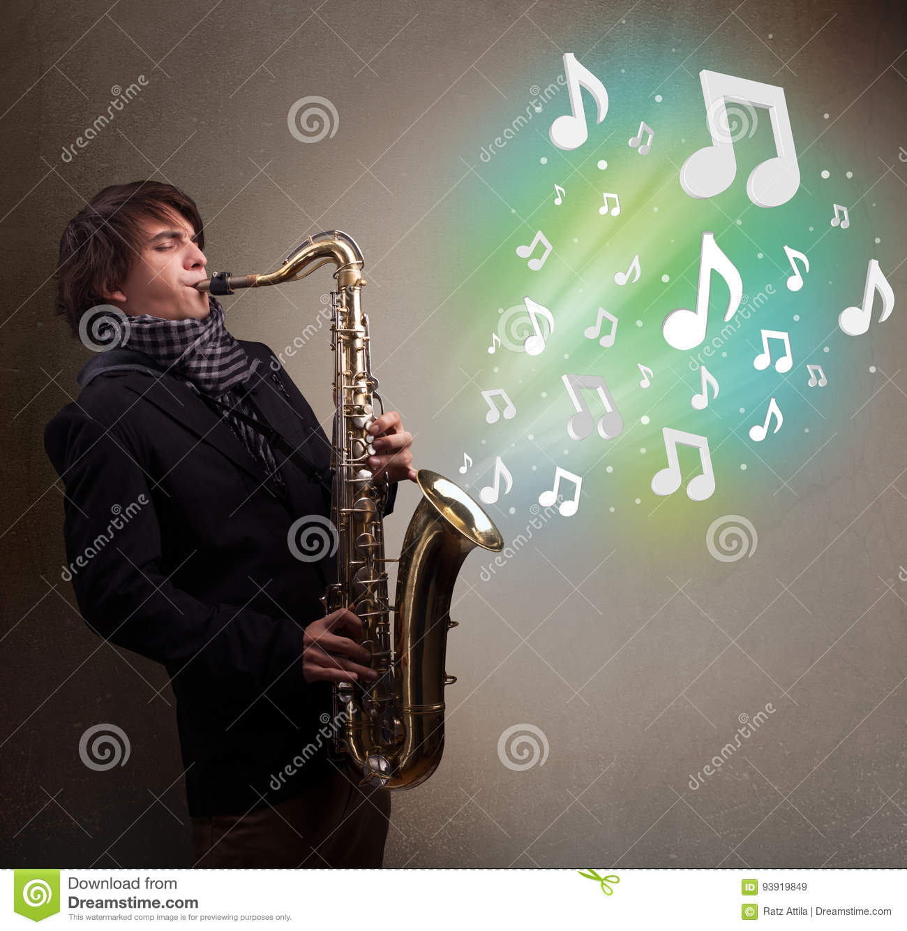 Young musician playing on saxophone while musical notes exploding