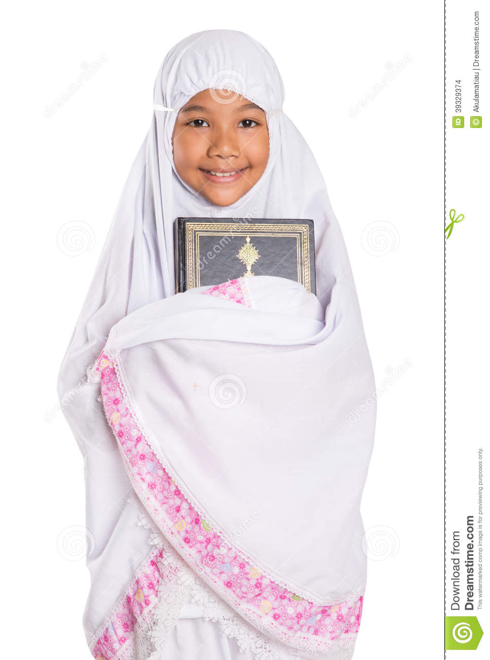 Young Muslim Girl Holding Al Quran Stock Photo
