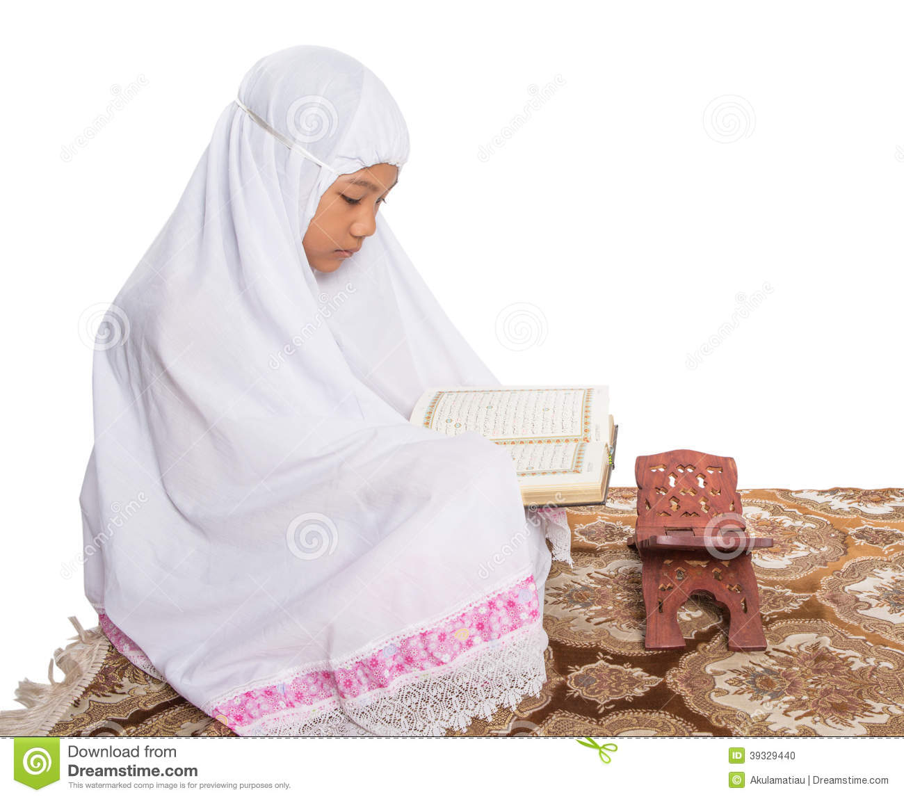 Young Muslim Girl Reading Al Quran V Stock Photo Image