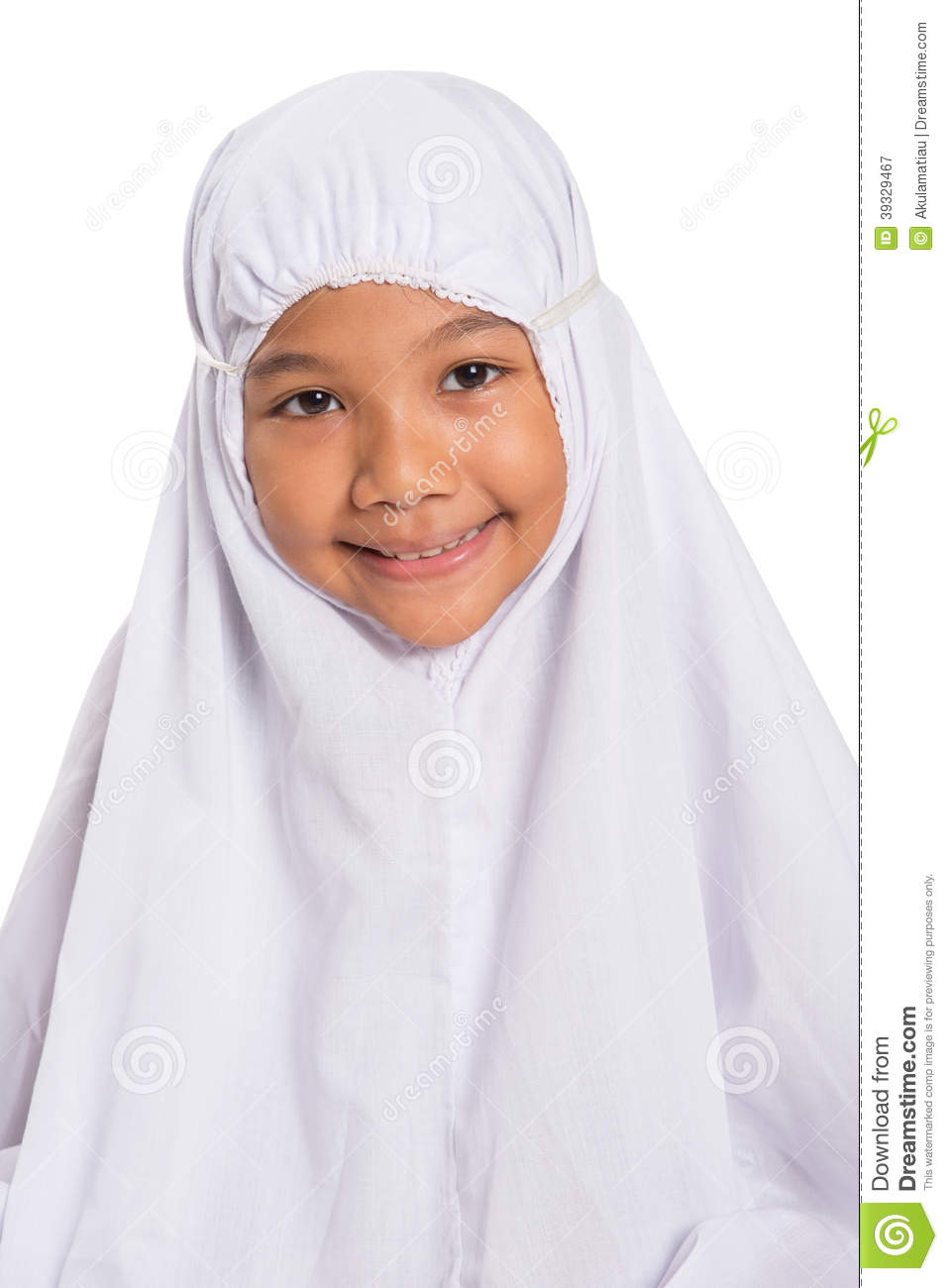 Young Muslim Girl In White Hijab Vi Stock Photo - Image 39329467-2085