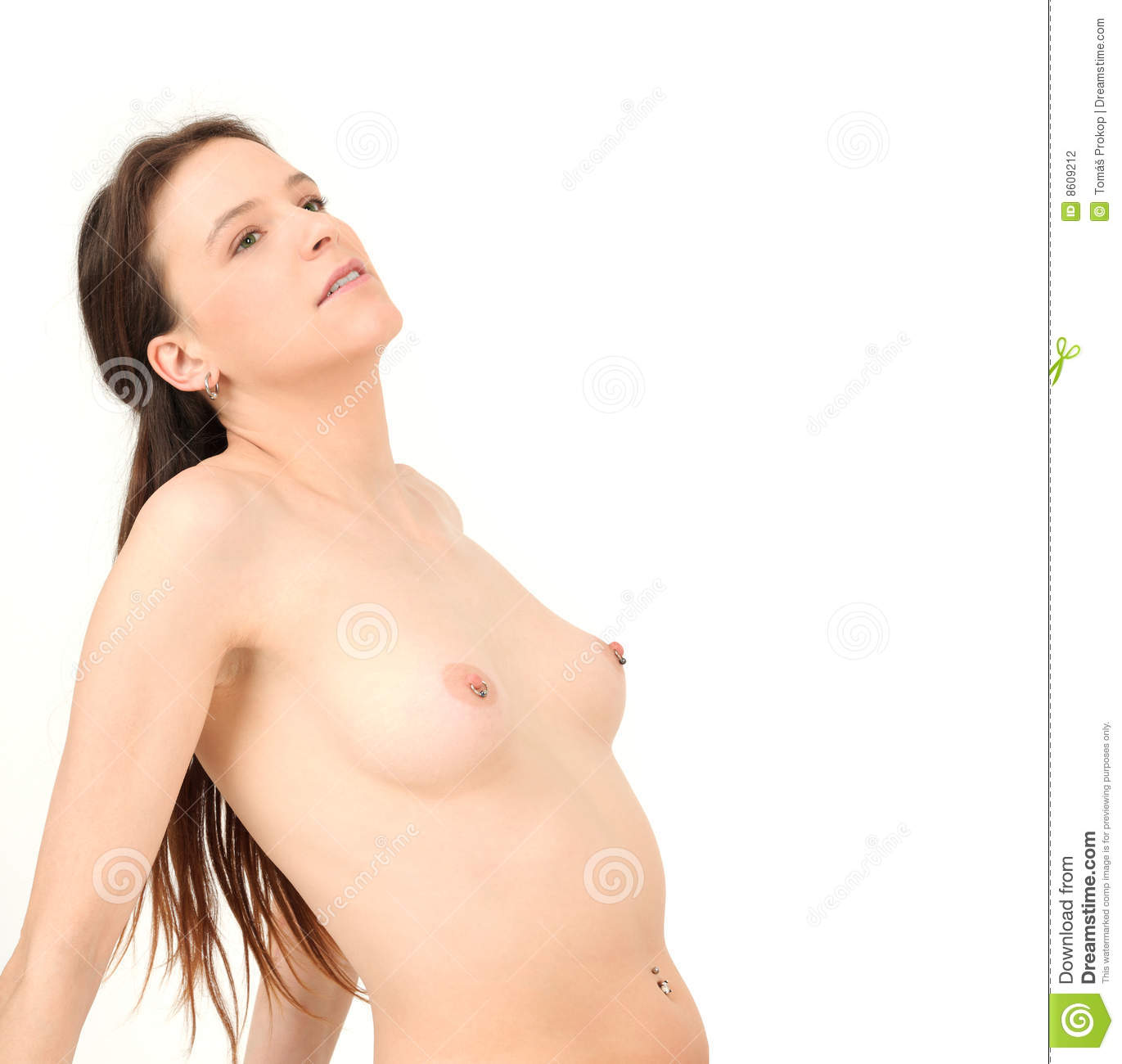young and naked woman showing pierced breasts stock photo - image of