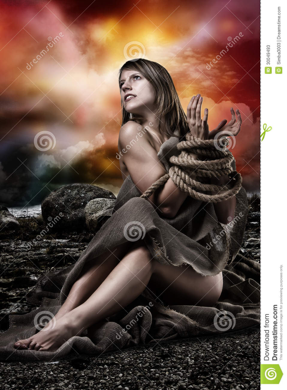 Women tied up with rope