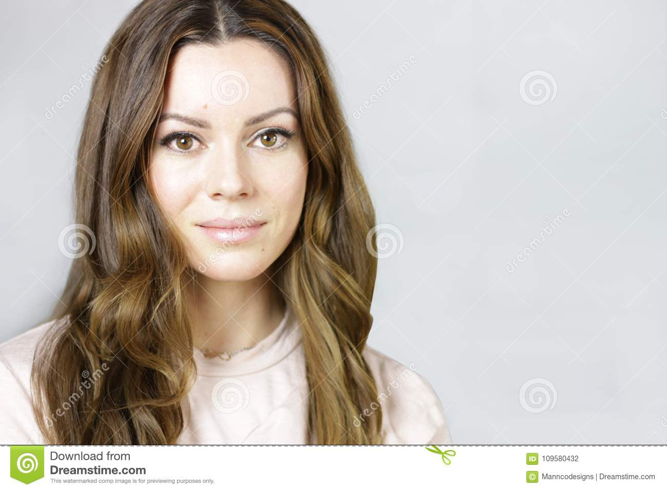 Young Natural Woman With Pretty Long Brown Hair Stock Photo Image