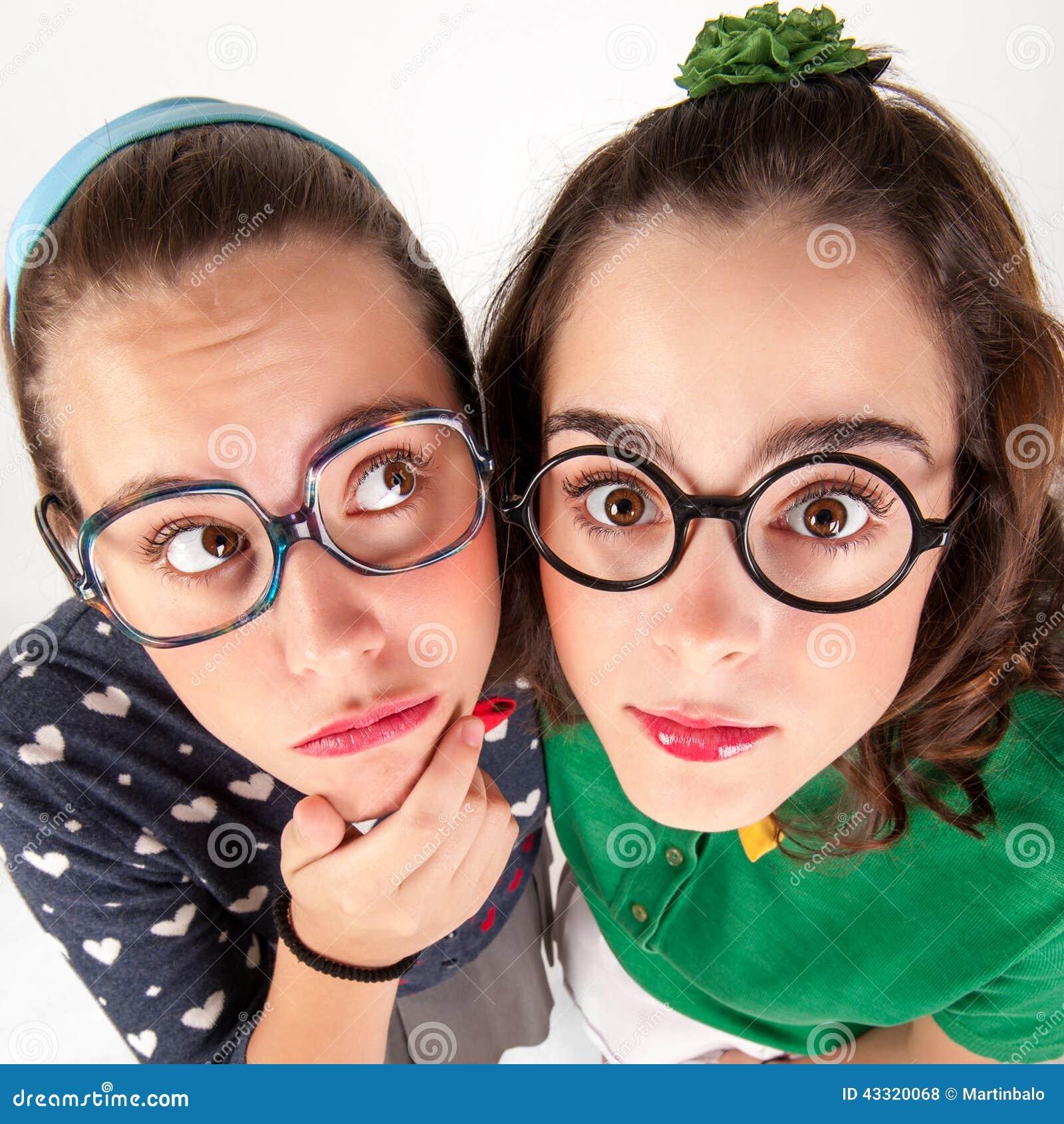 Young Nerdy Girls Stock Photo