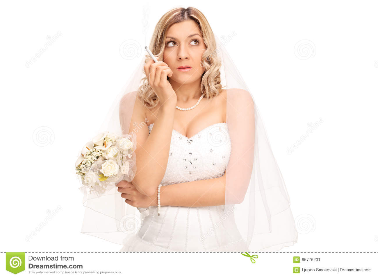 Young Nervous Bride In A White Wedding Dress Holding Bouquet And Smoking Cigarette Isolated On Background: Smoking Brides Wedding Dress At Websimilar.org