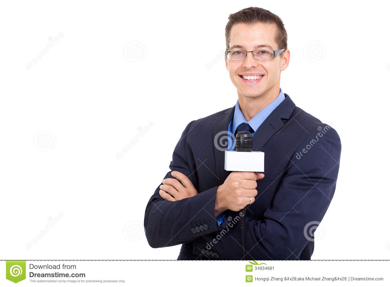 Young News Reporter Stock Image Of Joyful Male