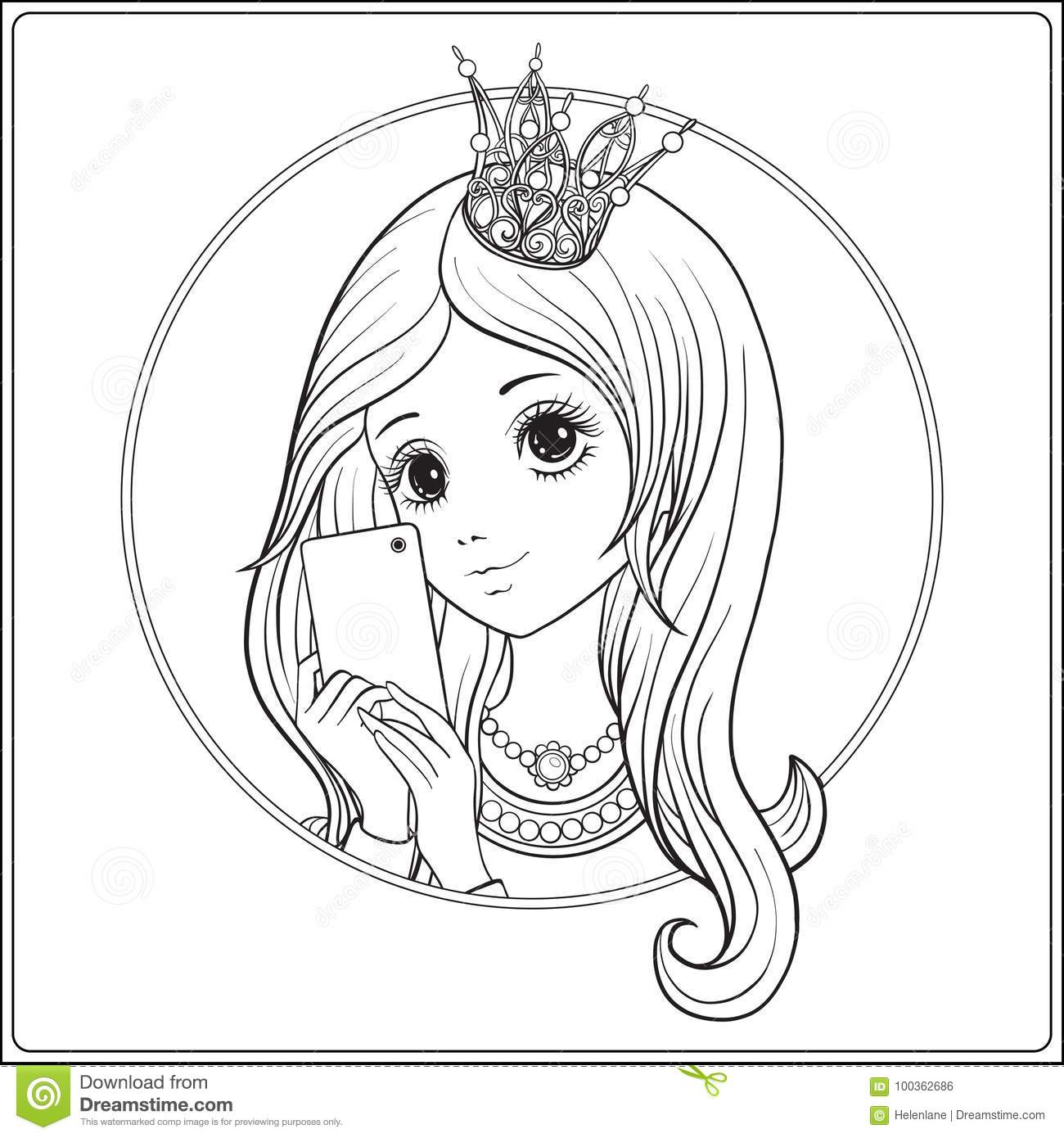 Young nice girl with long hear and princess Crown on her head ma