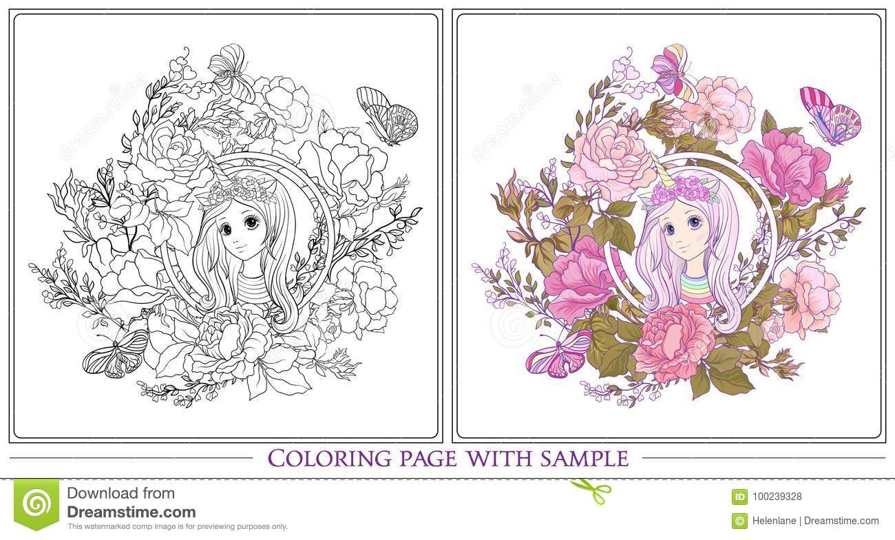 young nice girl long hear unicorn horn hat garden roses outline drawing coloring page colored sample book adult