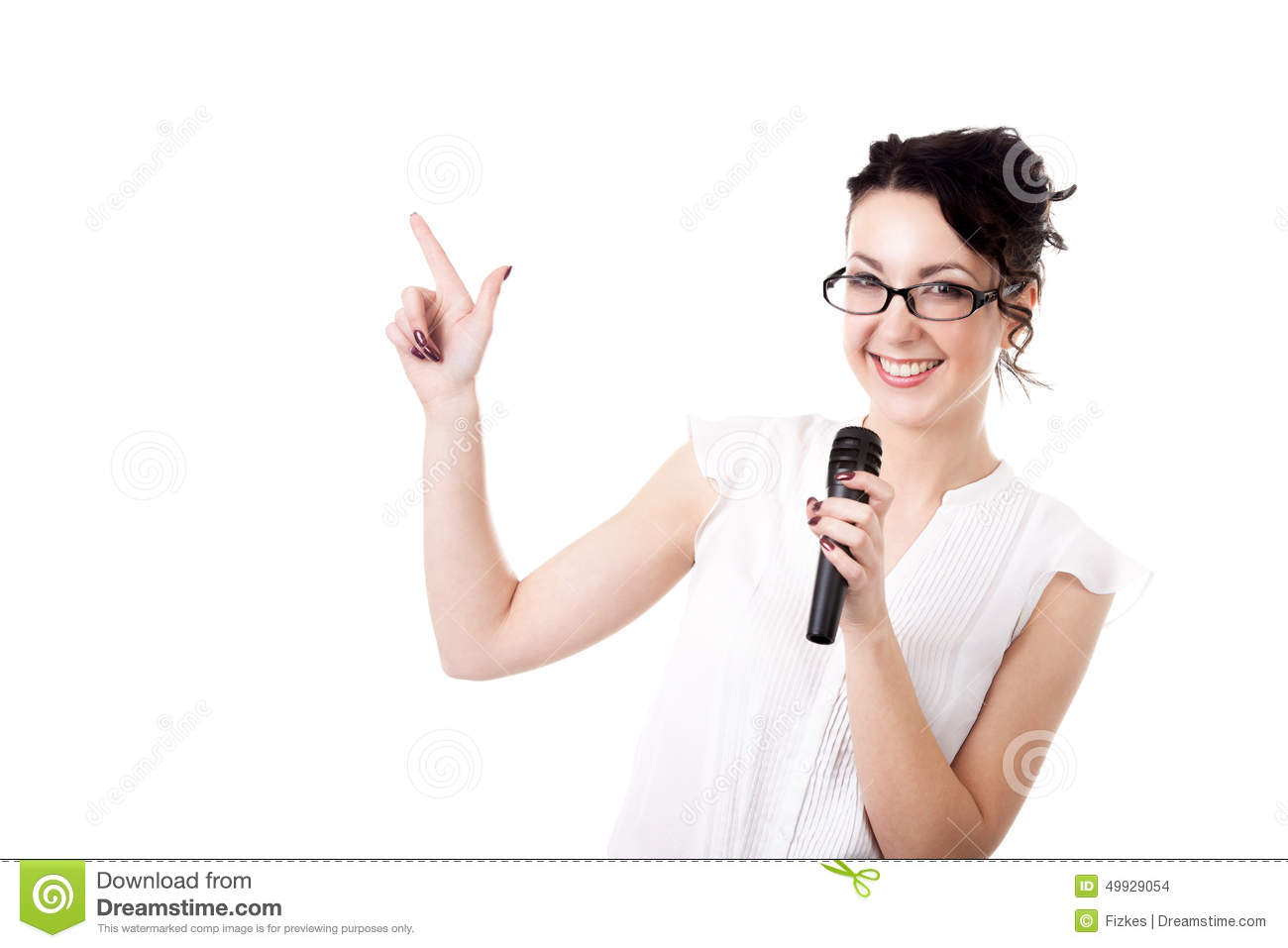 Young office woman presenter with microphone on white background