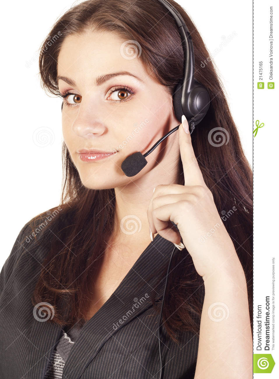 Young operator with headset