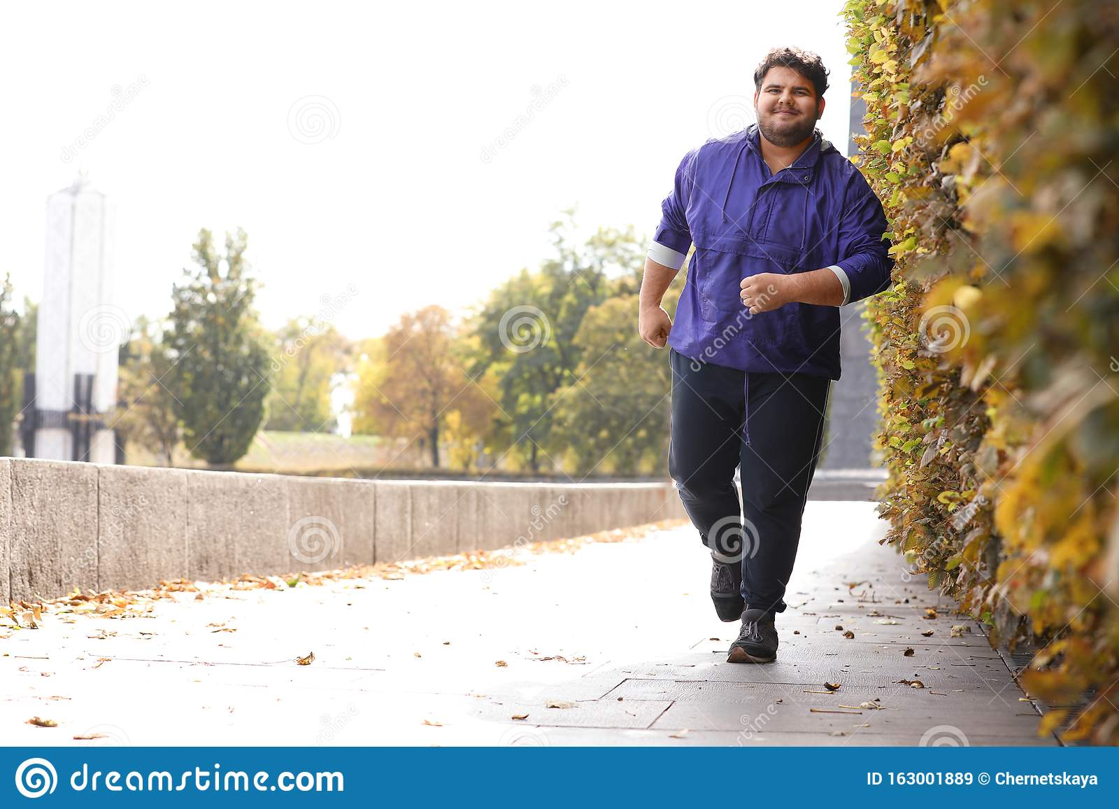 Young Overweight Man Running Fitness Lifestyle Stock Image Image Of Care Healthy 163001889