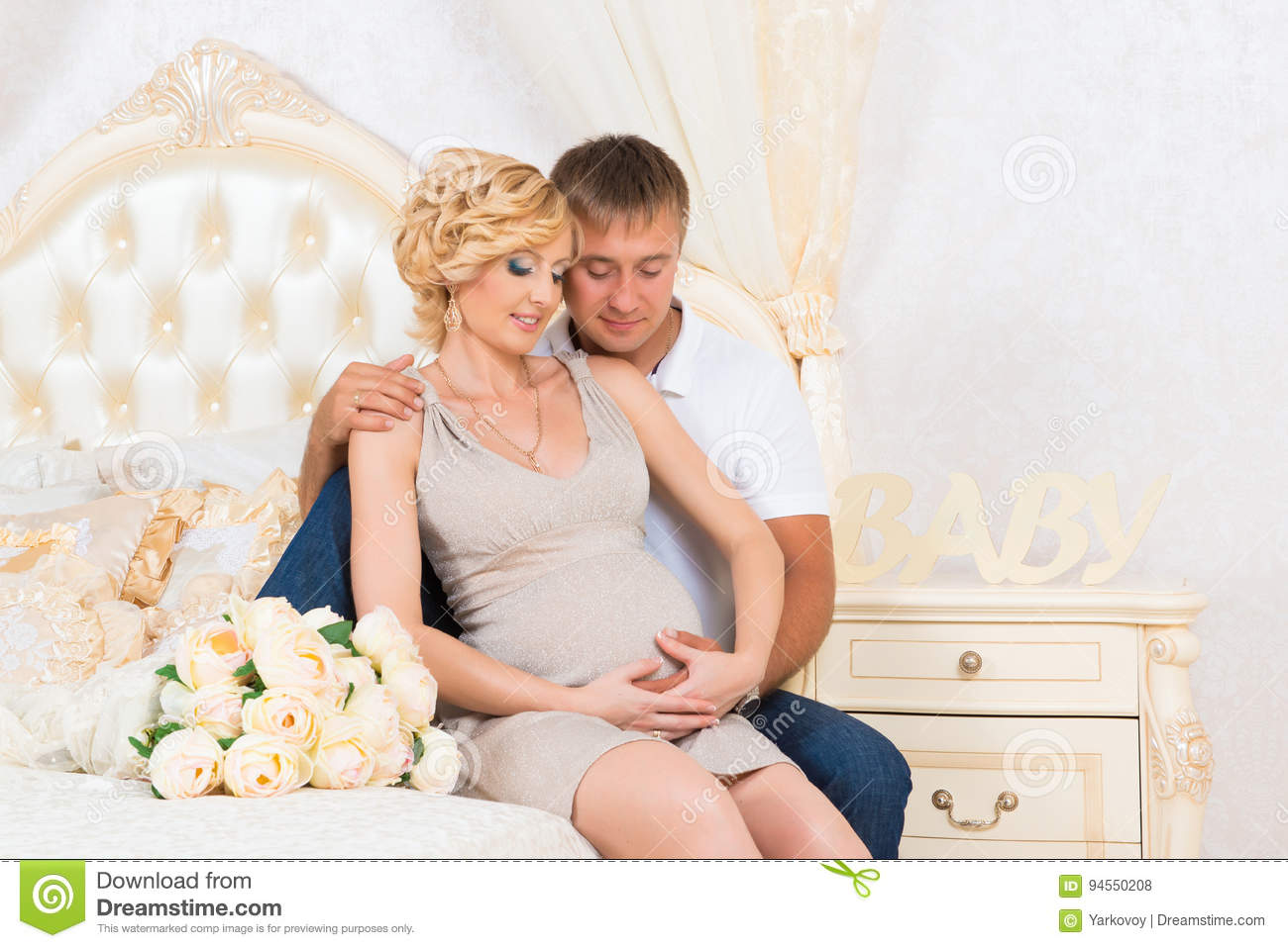 Young Parents In Bed Expecting A Little Baby Romantic Moments For Pregnant Couple Stock Photo Image Of Love Birth 94550208