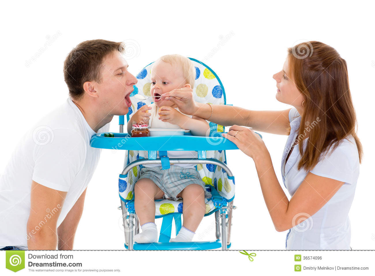 Young Parents Feed Baby Royalty Free Stock Image Image