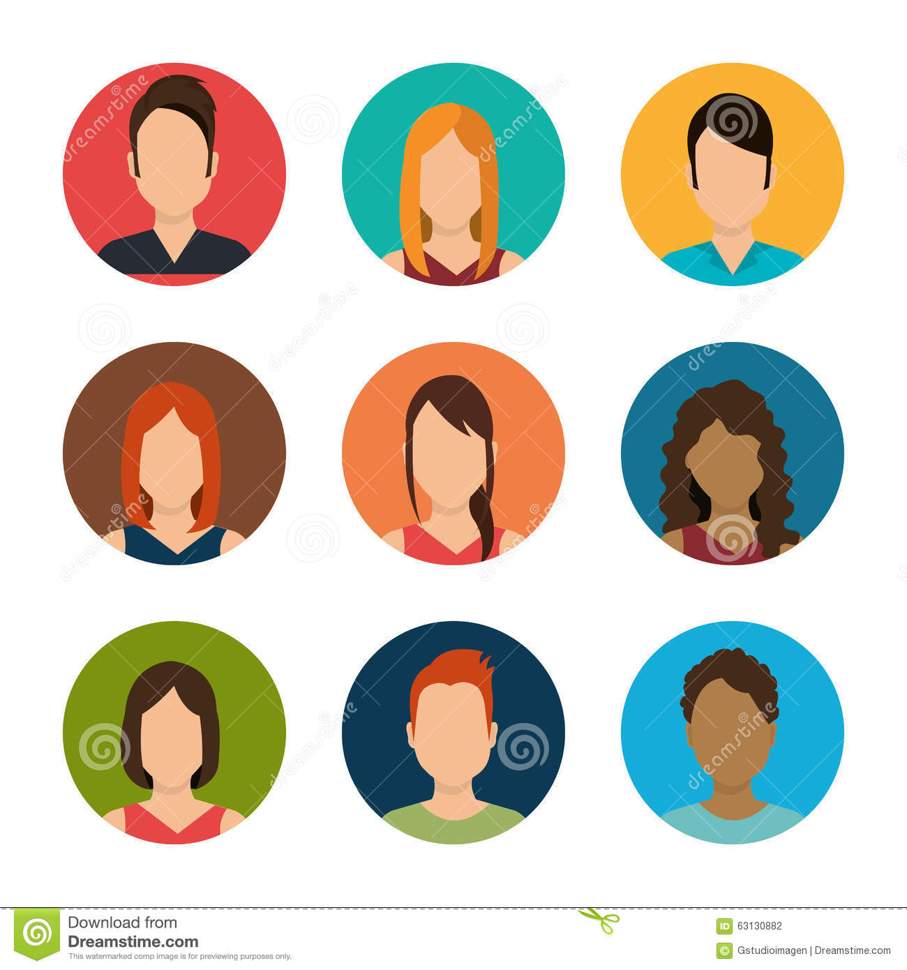 Young People Avatar Silhouette Stock Vector