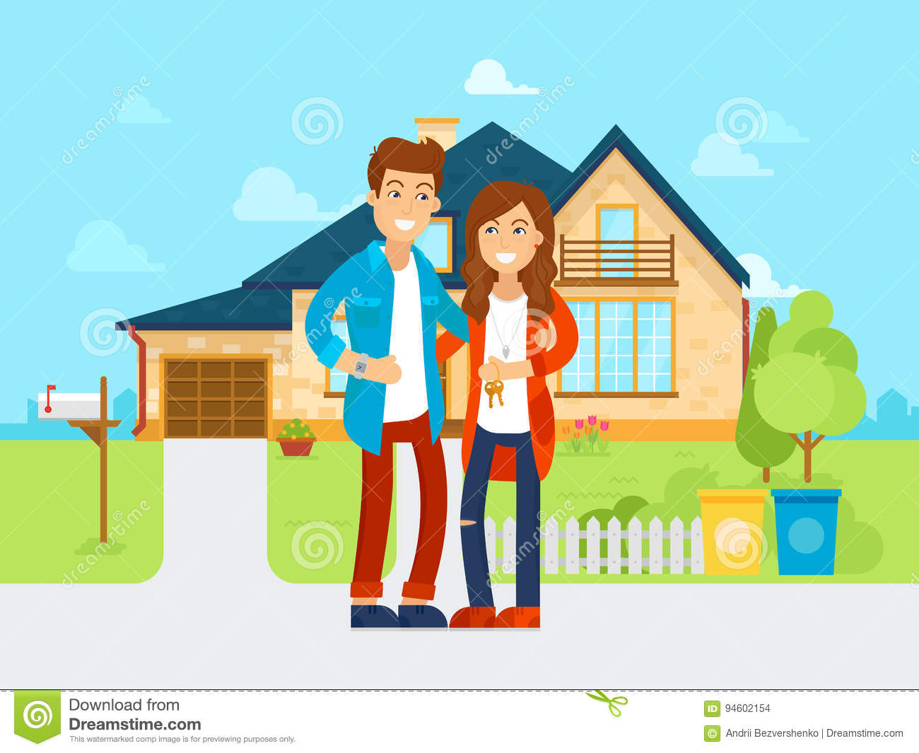 Cartoon Characters Houses : Cartoon family house vector illustration cartoondealer
